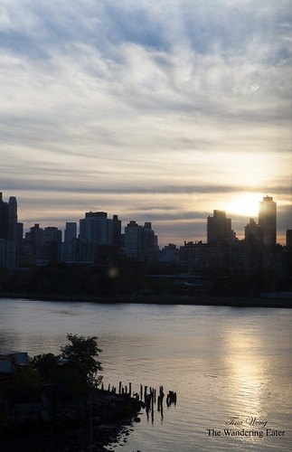 View of Roosevelt Island with the sun setting