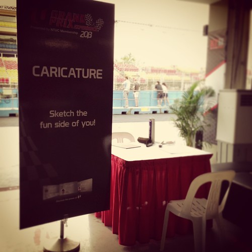 caricature live sketching for NTUC U Grand Prix Experience 2013 - b