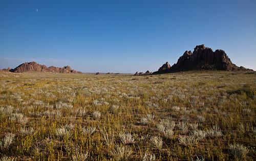 travel sunset sky moon landscape rocks desert adventure mongolia gobi chuluu dundgovi gazriin