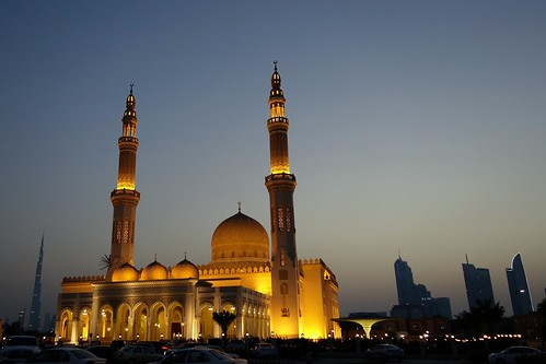 sunset skyline lights dubai uae mosque project365