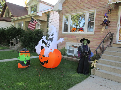 A neighborhood Halloween display.  Elmwood Park Illinois.  Sunday, October 13th, 2013. by Eddie from Chicago