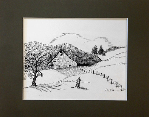 Pen and Ink Floyd Co Barn