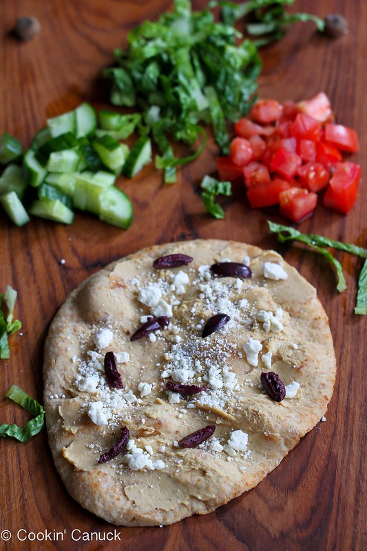 10-Minute Hummus & Greek Salad Naan (Flatbread) Recipe | cookincanuck.com #vegetarian