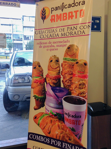 Colada morada and guaguas de pan from a bakery | Day of the Dead in Ecuador