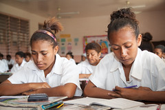 Students from Caritas Technical Secondary School in various classrooms, East Boroko, PNG.