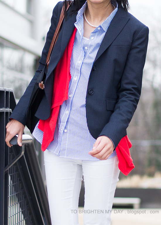 navy blazer, striped shirt, coral cardigan, white jeans