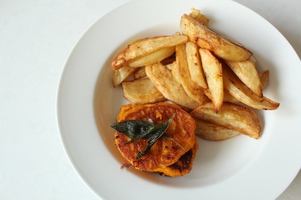 Sweet potato fritters and homemade chips