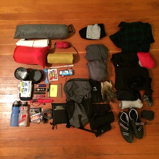 January Bike Camping Gear - Exploded - Packing Photo