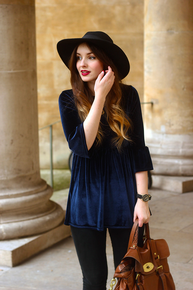 Navy and black outfit Mulberry back Velvet top