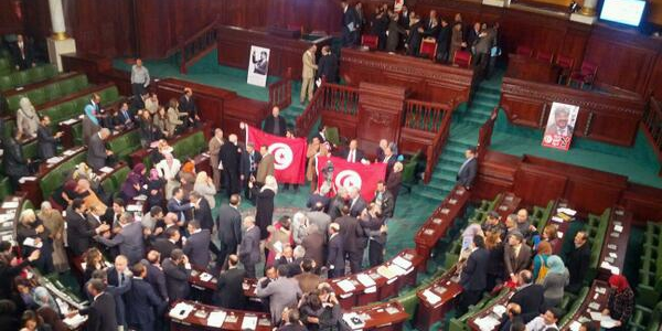 Assembly floor after approving constitution, January 27, 2014. Image credit: Robert Joyce, Tunisia Live
