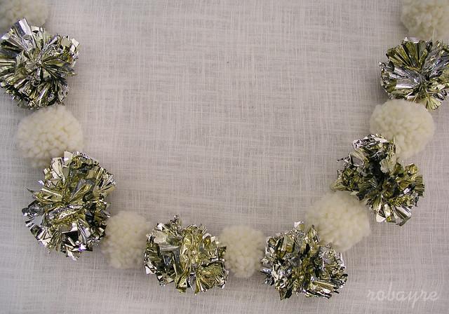 1.29 white and gold pom pom garland