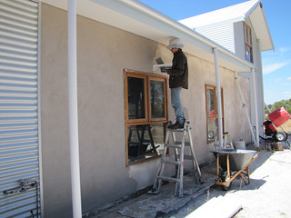 Final Lime Plaster Coat on Exterior South Wall - Strawbale House Build in Redmond Western Australia