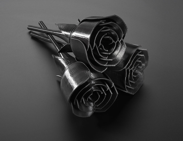 Black 3D Printed Roses