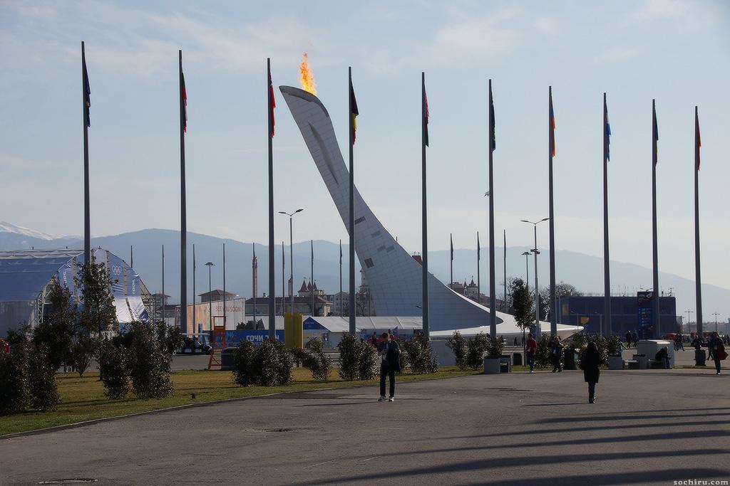 Олимпийский парк. Олимпийский огонь.