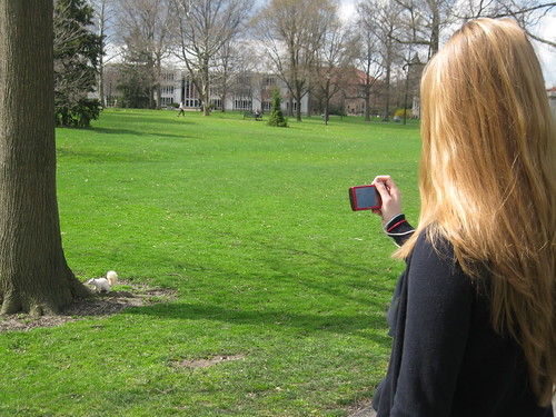 Abbie takes a photo of a white squirrel.