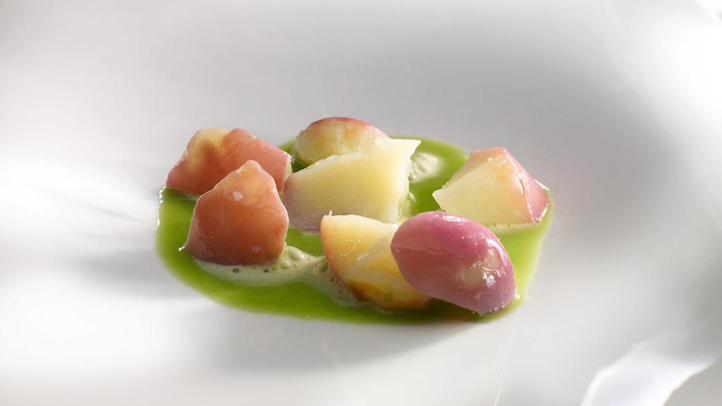 patata roseval con jugo de vainas
