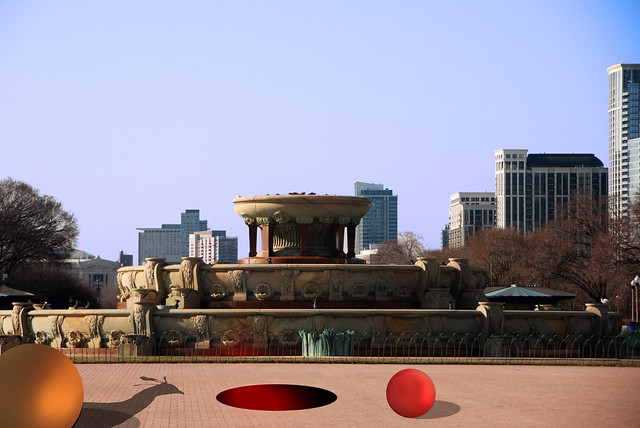 Himalayan Monal and Sudden Holes, Buckingham Fountain, Grant Park, Chicago, April 9, 2014 3 full