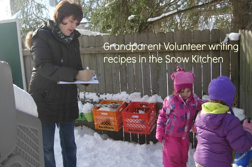 Writing recipes in snow kitchen