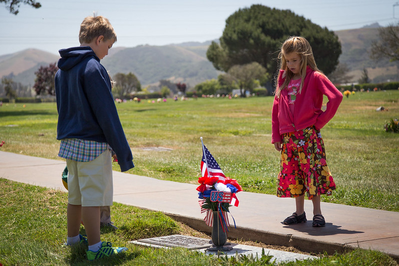 Children Reading Headstones at Los Osos Valley Memorial Park