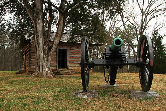 Historic cabin and canon