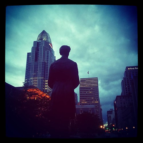 Abraham Lincoln gazing out at downtown Cincinnati from Lytle Park.