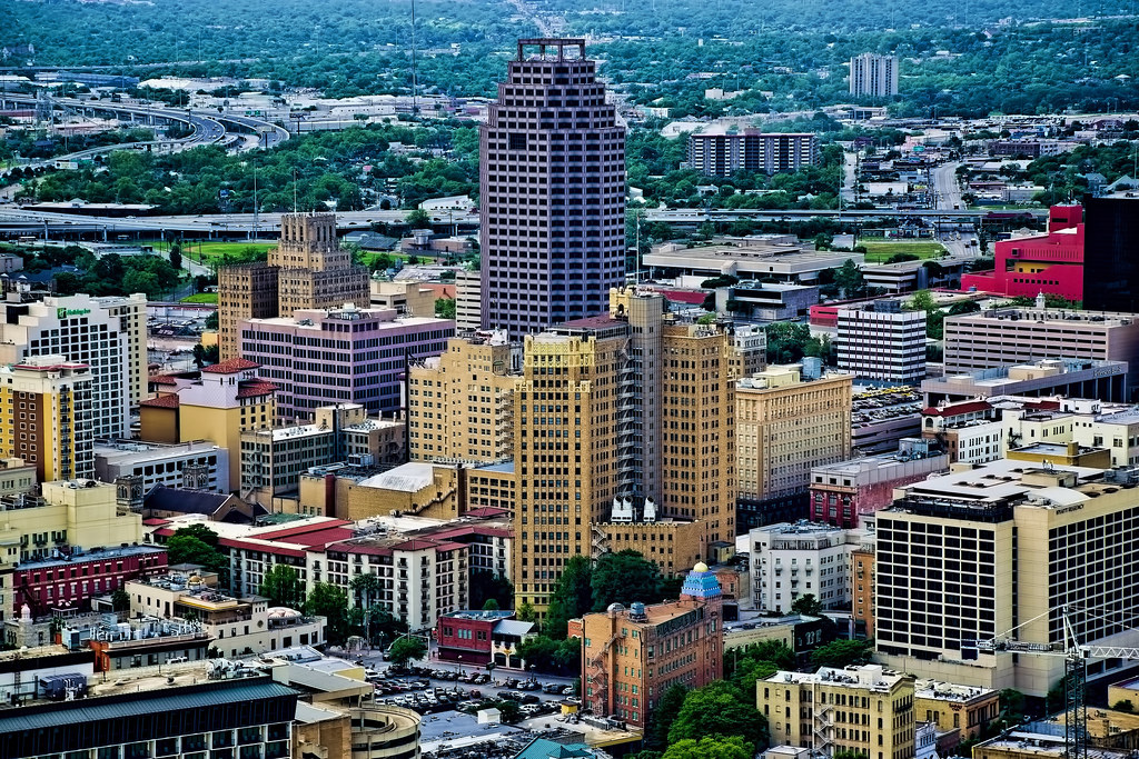The skyline of San Antonio, Texas, U.S.A., as seen from the Tower of the Americas