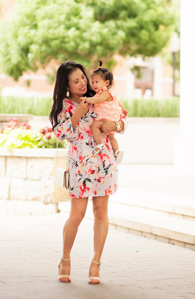 cute & little blog | petite fashion | lavender floral print dress, nude strappy sandals, kendra scott elle earrings | mommy and me | spring summer outfit