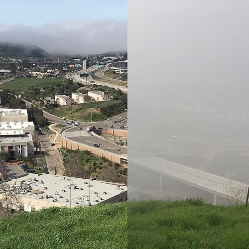 Wednesday, the fog was on the coast. Thursday it crept inland at lunch time. I trekked out to the same point in our parking lot and took pictures both days... . . @lifeatnow #servicenow #sandiego #winter #fog #coast #i805 #i5 #merge