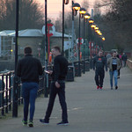 Preston Docks walkway at dusk