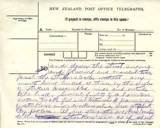 Waihi Strike Telegrams from Police Commissioner John Cullen, 9 November 1912 (3 of 5)