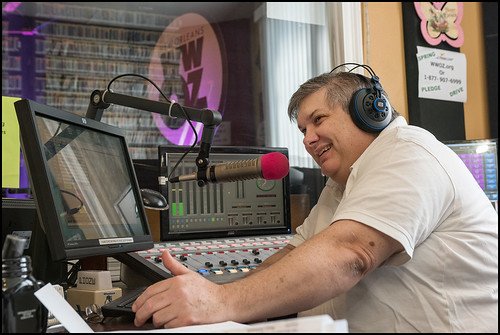 Michael Dominici on air during WWOZ Spring pledge drive day 3 on March 16, 2017. Photo by Ryan Hodgson-Rigsbee www.rhrphoto.com