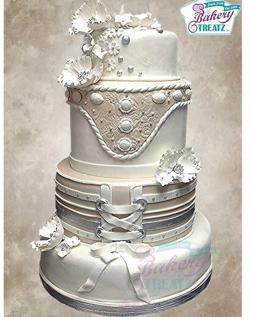 Champagne and White Themed Cake by BAKERY TREATZ