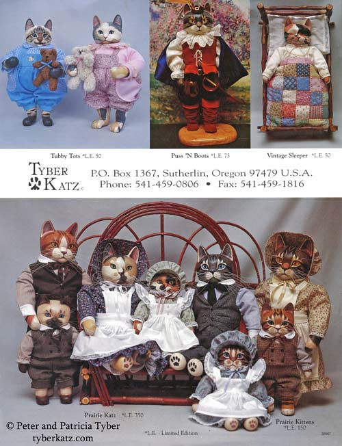 Cat art doll catalog by Peter and Patricia Tyber of Tyber Katz, page 4