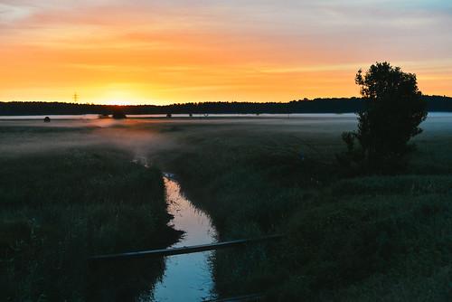 morning bridge light summer orange nature fog sunrise river landscape dawn latvia riga jurmala hightway gatve