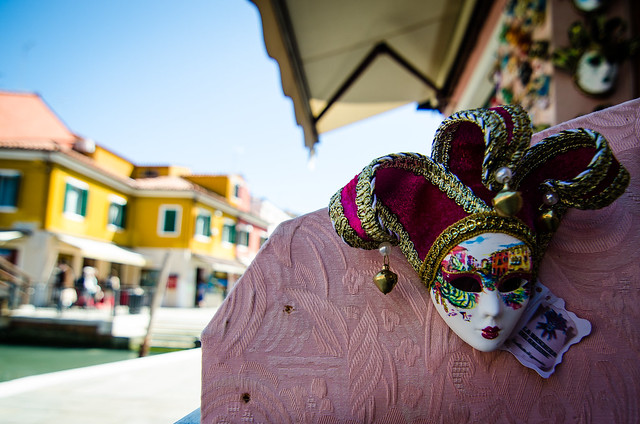 A miniature Carnival mask for sale on the island of Burano.
