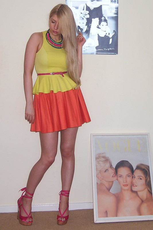 Neon, Sam Muses, Primark, Peplum, Fluoro, Fluorescent, Mini Skirt, River Island, Yellow, Orange, Aztec, Collar Necklace, Wedges