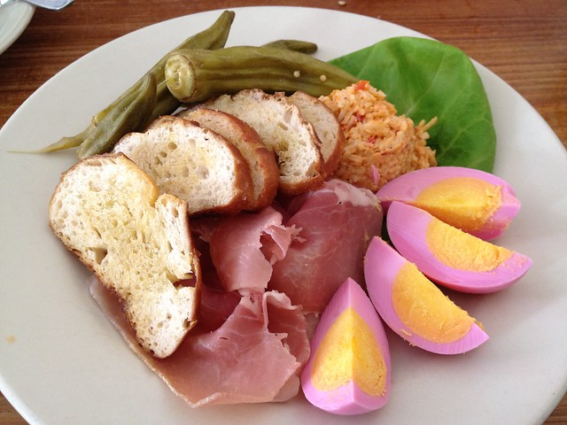 Picnic Sampler pimento cheese, shaved country ham, pickled eggs, okra pickles & garlic toasts at Hominy Grill, Charleston