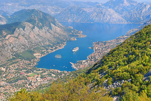 Cruise Ship Celebrity Silhouette in the Bay of Kotor