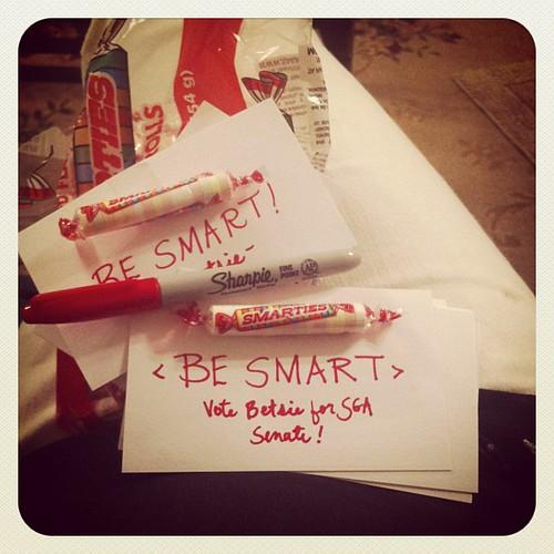 Making campaign materials for Betsie's bid for SGA freshman senator. #votebetsie #muw #wecandoit #labordayweekend