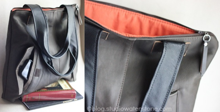 recycled leather bomber bag