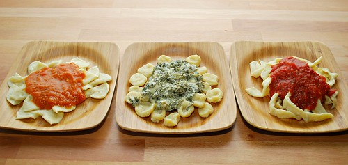 Trio of Pasta Sauces: Butternut Squash, Kale Alfredo, & Tomato Garlic Marinara