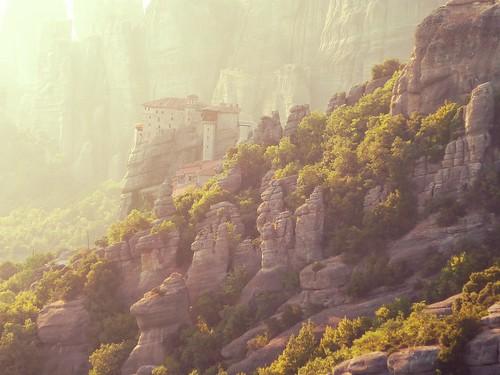 light sunset rock greece grecia meteora monasteries