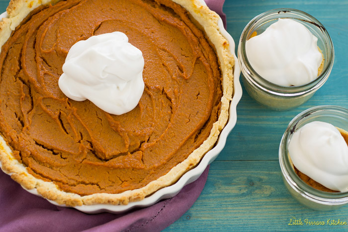 Sweet Potato Pie with Coconut Whipped Cream via LittleFerraroKitchen.com