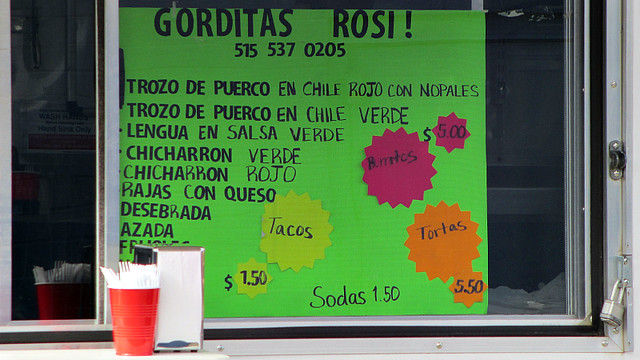 Menu from Gorditas Rosi in Des Moines, Iowa