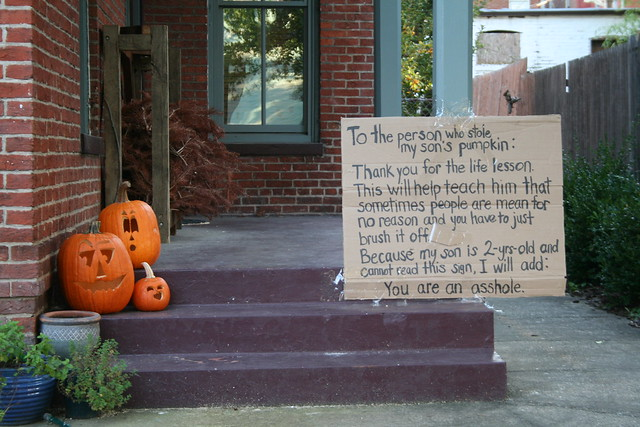 """To the person who stole my son's pumpkin"""