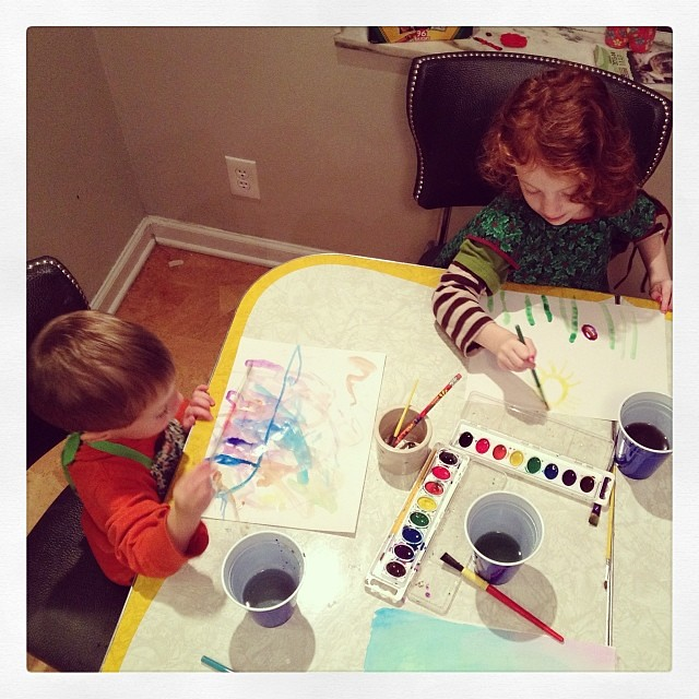 Haven't done this w them in way too long. #paint #watercolor #kids