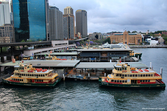 Sydney First Fleet Class Ferries, Golden Grove & Scarborough Both in Service Since 1886 - Berthed at Circular Key Ferry Terminal, Sydney, NSW
