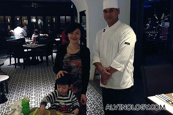 Rachel and Asher with the chef