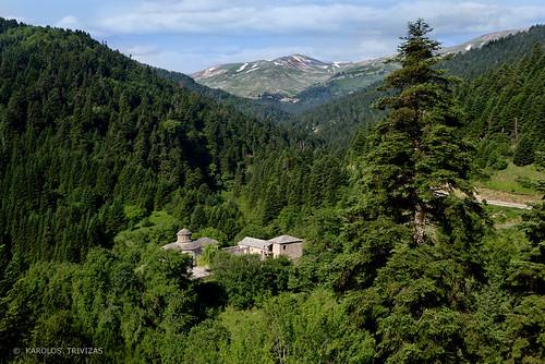 wood mountain snow church forrest stonework peak greece monastery stoneroof coniferous firtree slopes summits trikala thessaly aspropotamos anthousa galaktotrofousa blinkagain