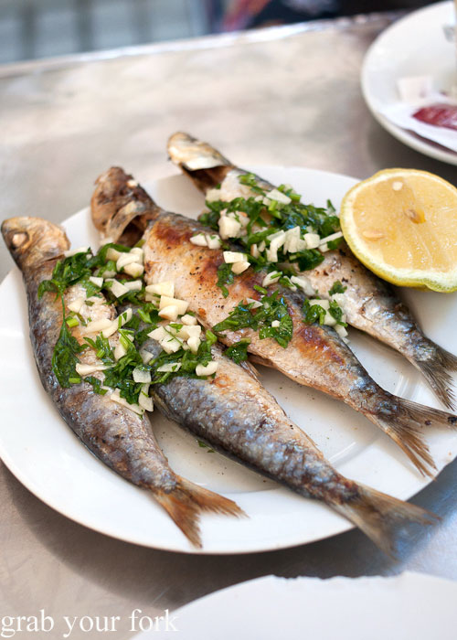 Grilled sardines at Can Eusebio, Barcelona